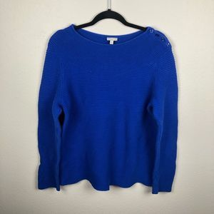 Talbots blue knitted sweater button